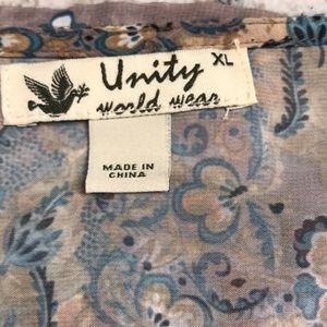 Unity World Wear Tops - Women's sheer Tunic Blouse Size XL EUC